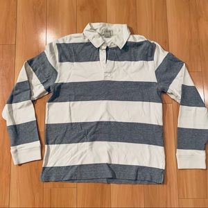 JCREW grey stripe long sleeve rugby polo shirt